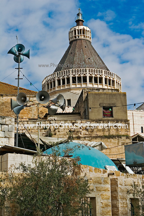 Israel, Lower Galilee, Nazareth. Exterior of the Basilica of the Annunciation