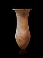 Hittite pottery vase from Hittite capital Hattusa, Hittite  Middle  Kingdom 1650-1450 BC, Bogazkale archaeological Museum, Turkey. Black  background