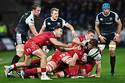 Gareth Davies of Scarlets in action during todays match<br /> <br /> Photographer Craig Thomas/Replay Images<br /> <br /> Guinness PRO14 Round 11 - Ospreys v Scarlets - Saturday 22nd December 2018 - Liberty Stadium - Swansea<br /> <br /> World Copyright © Replay Images . All rights reserved. info@replayimages.co.uk - http://replayimages.co.uk