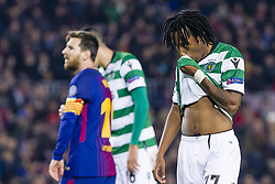 December 5, 2017 - Barcelona, Catalonia, Spain - FC Barcelona forward Lionel Messi (10) and Sporting CP forward Gelson Martins (77) during the match between FC Barcelona - Sporting CP, for the group stage, round 6 of the Champions League, held at Camp Nou Stadium on 5th December 2017 in Barcelona, Spain. (Credit Image: © NurPhoto via ZUMA Press)
