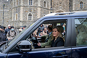 The day after the death at age 99 of Prince Phillip, the Duke of Edinburgh, consort to Queen Elizabeth II, Sophie and Prince Edward (Count and Countess of Wessex), drive past well-wishers after meeting with the Queen at Windsor Castle, on 10th April 2021, in London, England.