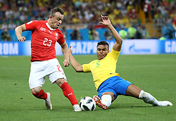 ROSTOV-ON-DON, June 17, 2018  Casemiro (R) of Brazil vies with Xherdan Shaqiri of Switzerland during a group E match between Brazil and Switzerland at the 2018 FIFA World Cup in Rostov-on-Don, Russia, June 17, 2018. (Credit Image: © Li Ga/Xinhua via ZUMA Wire)