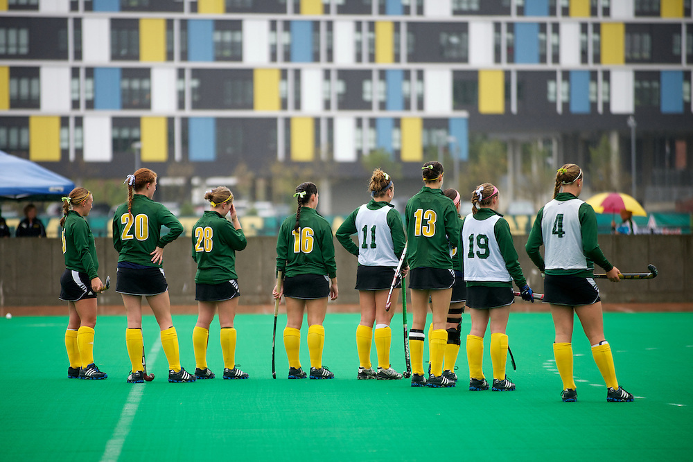 The Catamounts practice before the start of the women's field hockey game between the Maine Black Bears and the Vermont Catamounts at Moulton/Winder Field on Saturday afternoon September 29, 2012 in Burlington, Vermont.