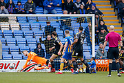 Shrewsbury Town striker Stefan Payne (45) scores a goal to make the score 1-0 during the EFL Sky Bet League 1 match between Shrewsbury Town and AFC Wimbledon at Greenhous Meadow, Shrewsbury, England on 24 March 2018. Picture by Simon Davies.