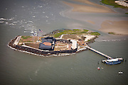Aerial view of Fort Sumter in Charleston Harbor.