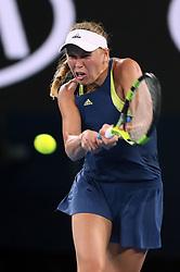 MELBOURNE, Jan. 27, 2018  Denmark's Caroline Wozniacki competes during the women's singles final match against Romania's Simona Halep at Australian Open 2018 in Melbourne, Australia, Jan. 27, 2018. (Credit Image: © Li Peng/Xinhua via ZUMA Wire)