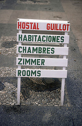 Multilingual sign for hostel accommodation in English; German; Spanish and French,