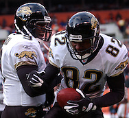 MORNING JOURNAL/DAVID RICHARD<br /> Jacksonville quarterback David Garrard, left, celebrates with receiver Jimmy Smith after the two combined for a 12-yard go-ahead touchdown yesterday in the third quarter against the Browns.