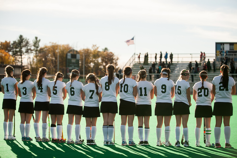 Vermont High School division II girls field hockey playoff game between the Harwood Highlanders and the Rice Green Knights at Moulton/Winder field on October 27, 2014 in Burlington, Vermont.