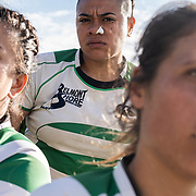 A trio of rugby players from the Belmont Shore Women's Rugby Football Club pose for a photo at California State University, Long Beach on March 7, 2020. (Mandatory Credit: Todd F. Michalek Sport Shooter Academy)