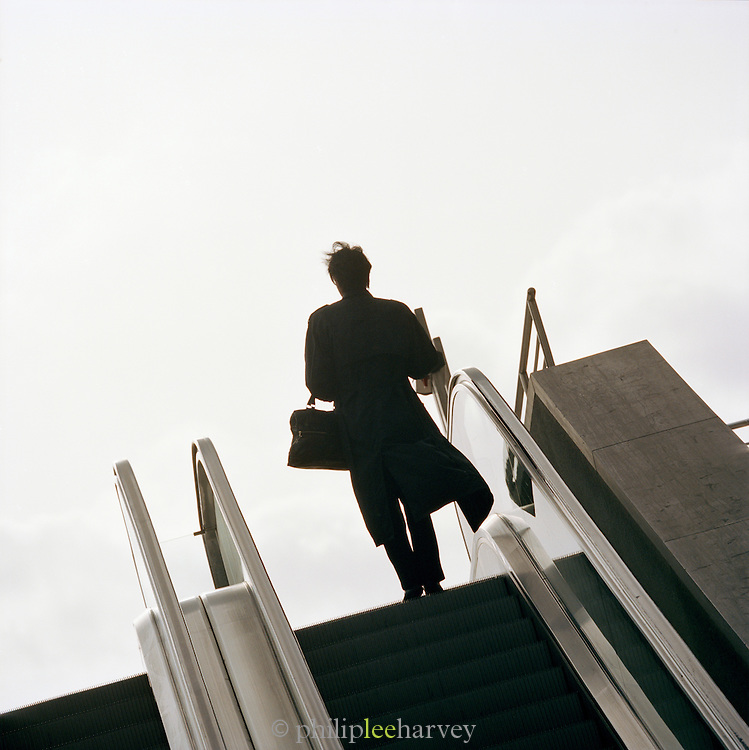 Person exiting the subway, Berlin, Germany