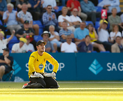Gloucestershire's Gareth Roderick frustrated after he lets four byes through<br /> <br /> Photographer Simon King/Replay Images<br /> <br /> Vitality Blast T20 - Round 8 - Glamorgan v Gloucestershire - Friday 3rd August 2018 - Sophia Gardens - Cardiff<br /> <br /> World Copyright © Replay Images . All rights reserved. info@replayimages.co.uk - http://replayimages.co.uk