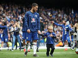 Chelsea's Eden Hazard in the Chelsea Lap of Appreciation during the Premier League match at Stamford Bridge, London.