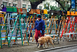 17 Feb 2015. New Orleans, Louisiana.<br /> Mardi Gras Day. A woman walks her dog past lines of ladders awaiting revelers early morning on St Charles Avenue before the big parades start to roll.<br /> Photo; Charlie Varley/varleypix.com