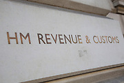 HM Revenue and Customs on Whitehall in London, England, United Kingdom. HM Revenue & Customs also known as HMRC is in charge of all elelments of tax and taxation as well as administering corporation tax, excise duties, national minimum wage enforcement, recovery of student loans, child benefit etc.