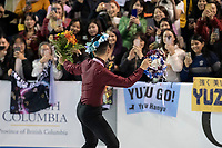 KELOWNA, BC - OCTOBER 27: Mens long program silver medalist, Nam Nguyen of Canada greets fans on the ice at Prospera Place on October 27, 2019 in Kelowna, Canada. (Photo by Marissa Baecker/Shoot the Breeze)