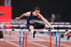 February 7, 2018 - Paris, Ile-de-France, France - Jonathan Cabral of Canada competes in 60m Hurdles during the Athletics Indoor Meeting of Paris 2018, at AccorHotels Arena (Bercy) in Paris, France on February 7, 2018. (Credit Image: © Michel Stoupak/NurPhoto via ZUMA Press)