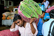A vegetable vendor carrying a bag of bitter gourds at the wholesale fruit and veg market on 10 April 2016 in Dambulla,  Sri Lanka.