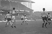 Kerry and Dublin challenge each other for the ball during the All Ireland Senior Gaelic Football Final, Kerry v Dublin in Croke Park on the 28th September 1975. Kerry 2-12 Dublin 0-11.