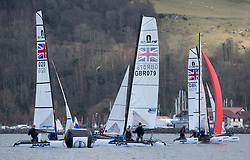 The annual RYA Youth National Championships is the UK's premier youth racing event. This year's regatta is taking place in Largs, Scotland, and will feature around 200 young sailors aged between 14 and 21. <br /> <br /> Nacra Fleet<br /> <br /> Images: Marc Turner / RYA<br /> <br /> For further information contact:<br /> <br /> Richard Aspland, <br /> RYA Racing Communications Officer (on site)<br /> E: richard.aspland@rya.org.uk<br /> m: 07469 854599