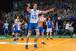 12-05-2019 NED: Abiant Lycurgus - Achterhoek Orion, Groningen<br /> Final Round 5 of 5 Eredivisie volleyball, Lycurgus robbed of championship. A service ace hits the match point, but the referee indicates that the ball is out. Orion win 3-2 and is Dutch Champion. Frits van Gestel #7 of Lycurgus , Erik van der Schaaf #9 of Lycurgus , Stijn Held #3 of Lycurgus , Wytze Kooistra #2 of Lycurgus , Dennis Borst #18 of Lycurgus