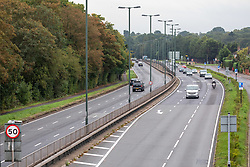 © Licensed to London News Pictures. 23/09/2020. London, UK. The A3 in South West London heading into the city looks much quieter than usual this morning as Prime Minister Boris Johnson called for office workers to now work from home. The Prime Minister, in a televised appearance last night announced to the Nation further tougher Covid restrictions including all shop staff to wear face masks, a 10pm curfew on pubs and restaurants and a £200 fine for not wearing a mask as a spike in coronavirus rates continues across the country. Photo credit: Alex Lentati/LNP