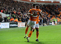Blackpool's Jordan Thompson celebrates scoring his side's second goal with Liam Feeney<br /> <br /> Photographer Alex Dodd/CameraSport<br /> <br /> The EFL Sky Bet League One - Blackpool v Lincoln City - Friday 27th September 2019 - Bloomfield Road - Blackpool<br /> <br /> World Copyright © 2019 CameraSport. All rights reserved. 43 Linden Ave. Countesthorpe. Leicester. England. LE8 5PG - Tel: +44 (0) 116 277 4147 - admin@camerasport.com - www.camerasport.com