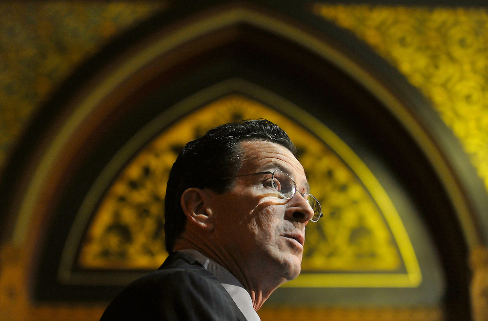 Dan Malloy, who won the Connecticut governor's race, speaks to the media at the Capitol in Hartford, Conn., Monday, Nov. 8, 2010.  (AP Photo/Jessica Hill)
