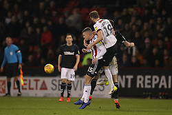 February 13, 2019 - Sheffield, South Yorkshire, United Kingdom - SHEFFIELD, UK 13TH FEBRUARY Richard Stearman of Sheffield United beats Jordan Hugill to a header  during the Sky Bet Championship match between Sheffield United and Middlesbrough at Bramall Lane, Sheffield on Wednesday 13th February 2019. (Credit: Mark Fletcher | MI News) (Credit Image: © Mi News/NurPhoto via ZUMA Press)