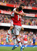 Football - 2019 Emirates Cup - Arsenal vs. Lyon<br /> <br /> Arsenal's Gabriel Martinelli celebrates prematurely as he thinks he has scored the equalising goal, at the Emirates Stadium.<br /> <br /> COLORSPORT/ASHLEY WESTERN