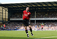 Photo: Paul Thomas.<br /> Everton v Manchester United. The Barclays Premiership. 28/04/2007.<br /> <br /> Wayne Rooney of Utd celebrates his goal in-front of the Everton supporters.