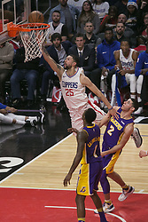 November 27, 2017 - Los Angeles, California, U.S - Austin Rivers #25 of the Los Angeles Clippers scores during their game with the Los Angeles Lakers on Monday November 27, 2017 at the Staples Center in Los Angeles, California. Clippers defeat Lakers 120-115. (Credit Image: © Prensa Internacional via ZUMA Wire)