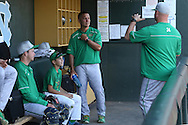 16 May 2016: Notre Dame head coach Mik Aoki (center) and his son Kai Aoki (second from left) listen to assistant coach Chuck Ristano (right). The University of North Carolina Tar Heels hosted the University of Notre Dame Fighting Irish in an NCAA Division I Men's baseball game at Boshamer Stadium in Chapel Hill, North Carolina.
