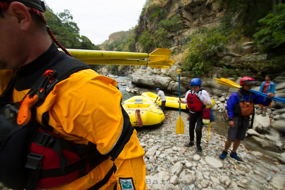 Rafting on the Mangde Chhu (river) in Bhutan.