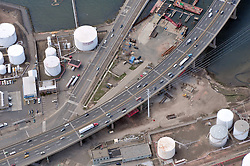 """Pearl Harbor Memorial """"Q"""" Bridge and Interstate I-95 I-91 CT Route 34 Interchanges. Details of approaches, overpasses, bridges, ramps & roadways within I-95 New Haven Harbor Crossing Corridor construction projects confines. Photography taken at the beginning of Contract B1 & E1"""