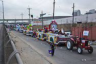 Floats lined up waitting to role in the 2017 Zulu parade on Mardi Gras day in New Orleans.