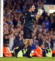 Photo: Chris Ratcliffe.<br />Chelsea v Charlton Athletic. Carling Cup.<br />26/10/2005.<br />Stephen Anderson celebrates saving Robert Huth's goal