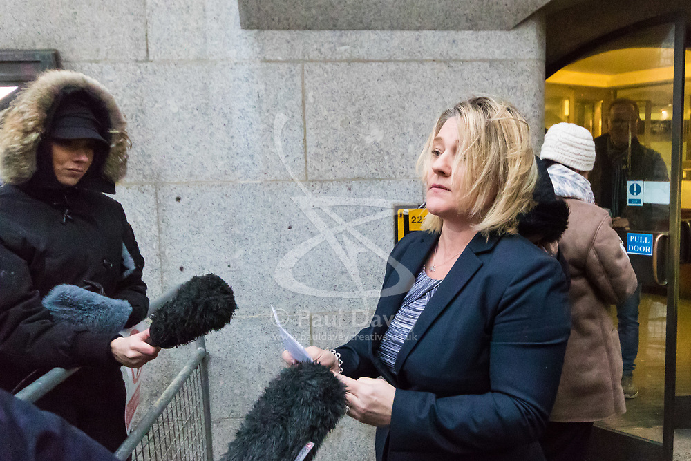 DCI Sam Price reads out a statement to the press on behalf of the victims' family at the conclusion of the Mujahid Arshid trial at the Old Bailey, London. February 14 2018.