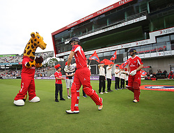 Liam Livingstone (L) and Karl Brown of Lancashire Lightning walk out before the match - Mandatory by-line: Jack Phillips/JMP - 23/07/2017 - CRICKET - Emirates Old Trafford - Manchester, United Kingdom - Lancashire Lightning v Durham Jets - Natwest T20 Blast