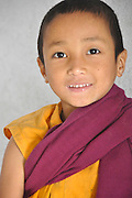 Young novice monk at a school in Sikkim, India