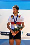 Seville. Andalusia. SPAIN.  Men's Lightweight single sculls  Bronze Medallist, GER LM1X Jonathan KOCK. 2013 FISA European Rowing Championship.  Guadalquivir River.  Sunday   02/06/2013  [Mandatory Credit. Peter Spurrier/Intersport]