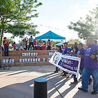 Crowds cheer as the survivor walk opens Relay for Life Friday, June 21 at McKinley County Courthouse Square in Gallup.