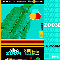 Home Movie Film Retro 8mm Packaging illustration with stylish mid century woman in green