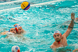 Jesse Nispeling of the Netherlands in action against Alexandru RaduCosmin Romania during the Olympic qualifying tournament. The Dutch water polo players are on the hunt for a starting ticket for the Olympic Games on February 16, 2021 in Rotterdam
