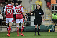 G. Eltringham (referee) awards a free kick and tells the Rotherham United players to not approach during the EFL Sky Bet Championship match between Rotherham United and Brighton and Hove Albion at the AESSEAL New York Stadium, Rotherham, England on 7 March 2017. Photo by Mark P Doherty.