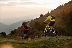 two mountain bikers on the way, Kolovrat, Istria, Slovenia