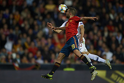 March 23, 2019 - Valencia, Valencia, Spain - Jordi Alba of Spain  and Tarik Elyounoussi of Norway competes for the ball during the 2020 UEFA European Championships group F qualifying match between Spain and Norway at Estadi de Mestalla on March 23, 2019 in Valencia, Spain. (Credit Image: © Jose Breton/NurPhoto via ZUMA Press)