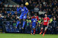 Sol Bamba of Cardiff city (14)  in action. EFL Skybet championship match, Cardiff city v Ipswich Town at the Cardiff city stadium in Cardiff, South Wales on Tuesday 31st October 2017.<br /> pic by Andrew Orchard, Andrew Orchard sports photography.