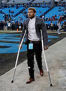 CHARLOTTE, NC - JAN 24:  Tyrann Mathieu #32 of Arizona Cardinals walks on crutches before the NFC Championship game against the Carolina Panthers at Bank of America Stadium on January 24, 2016 in Charlotte, North Carolina.