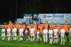 Team of Nederland during anthem before football match between Slovenia and Nederland in qualifying Round of Woman's qualifying for EURO 2021, on October 5, 2019 in Mestni stadion Fazanerija, Murska Sobota, Slovenia. Photo by Blaž Weindorfer / Sportida